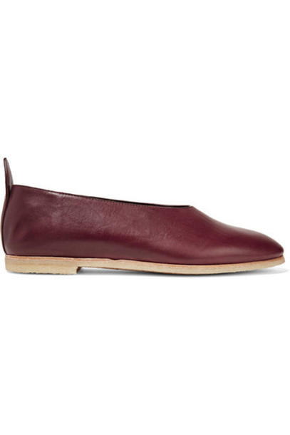 fb034ac7090 Joseph - Parma Softy Leather Ballet Flats - Burgundy - Wheretoget