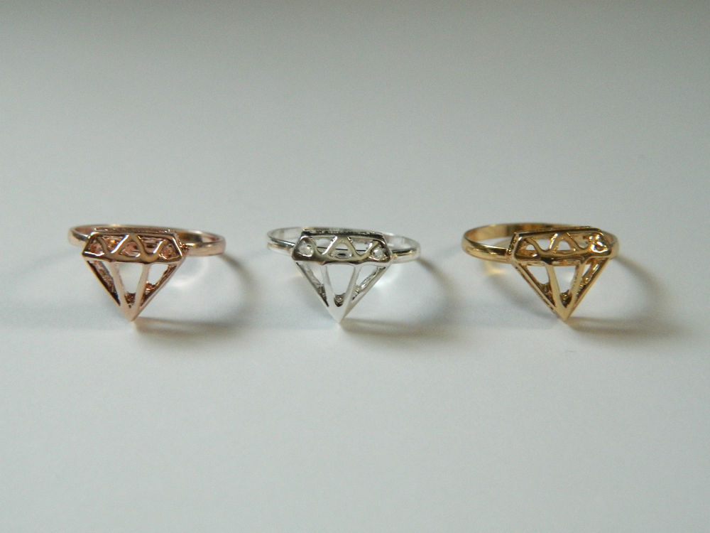 Cute Silver, Gold or Rose Gold Diamond Shaped Stacking Ring   eBay