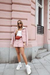 kenza,blogger,skirt,jacket,top,shoes,bag,sunglasses