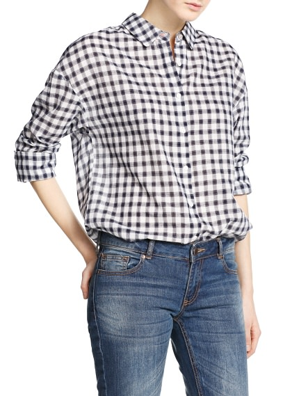 MANGO - CLOTHING - Tops - Gingham check cotton shirt