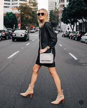 dress,mini dress,long sleeve dress,crossbody bag,marc jacobs,ankle boots,high heels boots,watch,aviator sunglasses