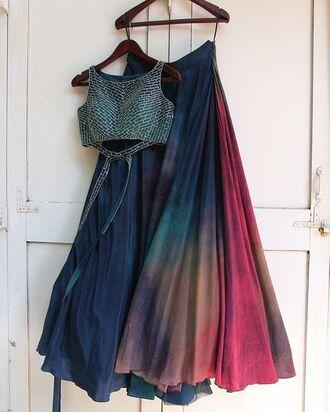dress colorful blue pink galaxy print crop tops mermaid flowy dark prom