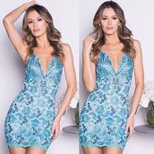 dress,lace dress,mini dress,sexy dress,holt miami,luxury dress,turquoise dress,blue dress,bachelorette dress,painted dress,holt