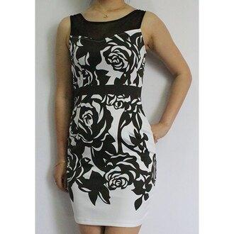 dress rose wholesale bodycon dress black dress black and white floral trendy