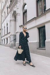 dress,polka dots,maxi dress,slide shoes,bag