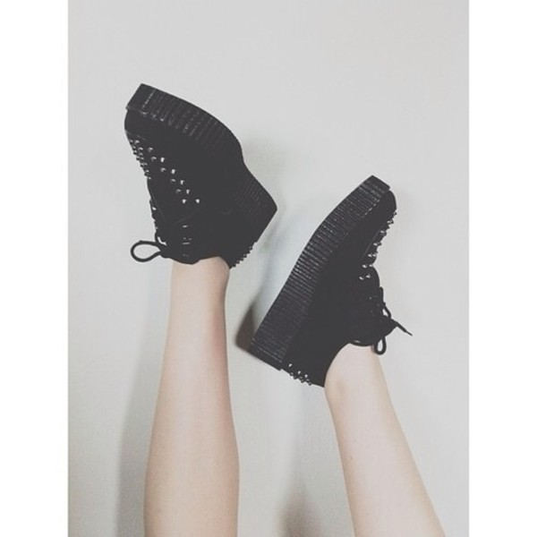 shoes platform shoes grunge shoes studded shoes black flatforms