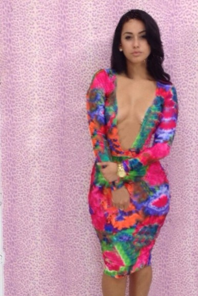 dress multi multi colored tie dye form fitting body bodycon tie dye dress party dress clubwear club wear party formfitting tiedyedress deep v v neck deepv hour glass knee length