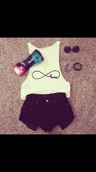 white shirt infinity love infinity shirt love shirt underwear blue bandeau pink bandeau black bandeau