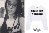 quote on it,lover not a fighter,lover,sweater,cropped sweater,camila cabello,Fifth Harmony