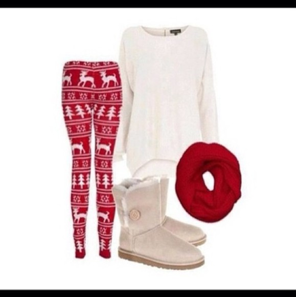 top shoes scarf sweater pants