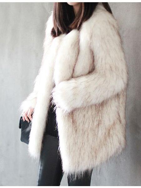 Mixed Brown Faux Fur White Coat  31fd341775e1