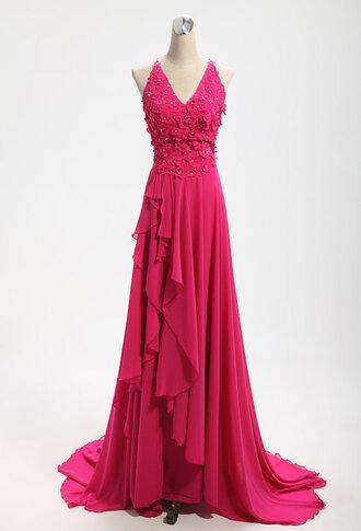 evening dress chiffon red evening dress v neck dress bridesmaid