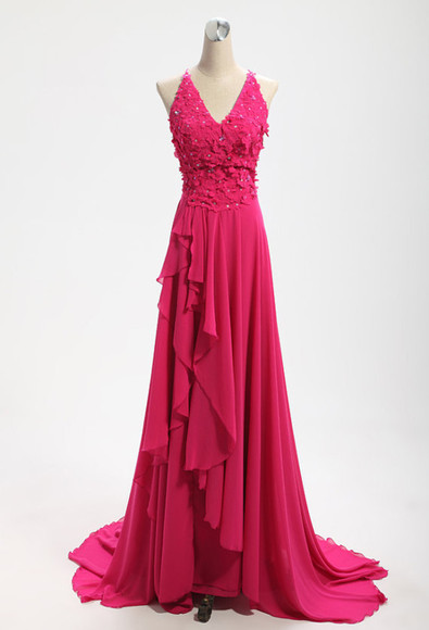 evening dress chiffon red evening dress v-neck dress bridesmaid wedding dress