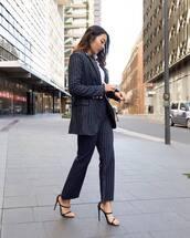 jacket,tumblr,blazer,blue blazer,stripes,pants,striped pants,blue pants,power suit,sandals,sandal heels,high heel sandals,work outfits,office outfits,shoes