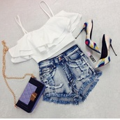 shred,shorts,white shirt,shredded jean shirts,shredded,shredded denim shorts,stilettos,pointed toe heels,bag,shoes