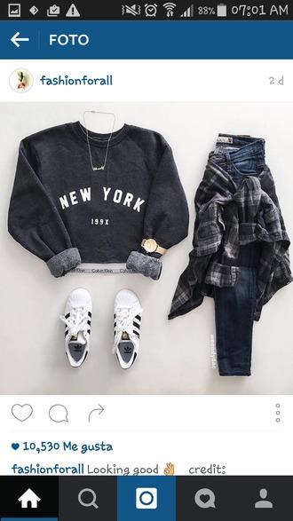 sweater croped swater black new york city