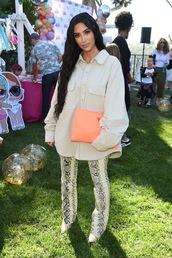 pants,kim kardashian,kardashians,python,python print,fashion week,celebrity