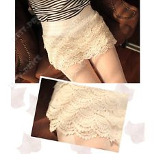 Korean Womens Sweet Cute Sexy Crochet Tiered Lace Shorts Skorts Short Pants | eBay