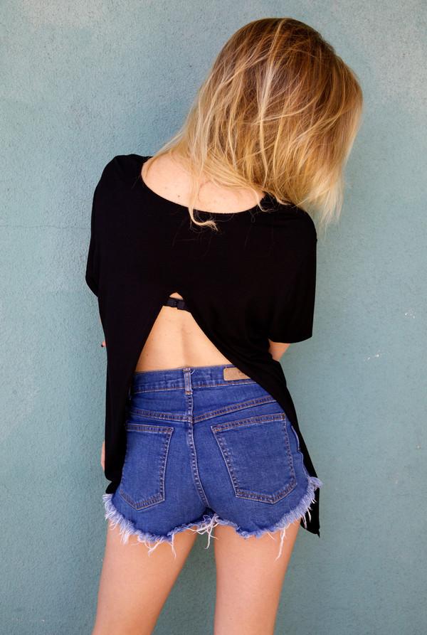 t-shirt swing t-shirt slit shirt black boho bohemian summer beach cover up top