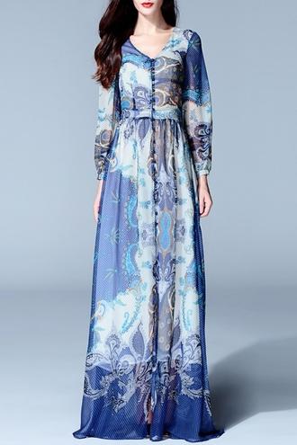 dress long long dress vintage vintage dress long sleeve dress fall dress blue button up long sleeves maxi dress