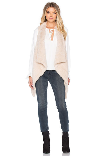 Jocelyn vest fur asymmetrical tan