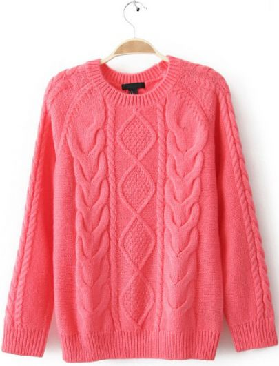 Diamond Cable Knitting Long Sleeve Sweater - Sheinside.com