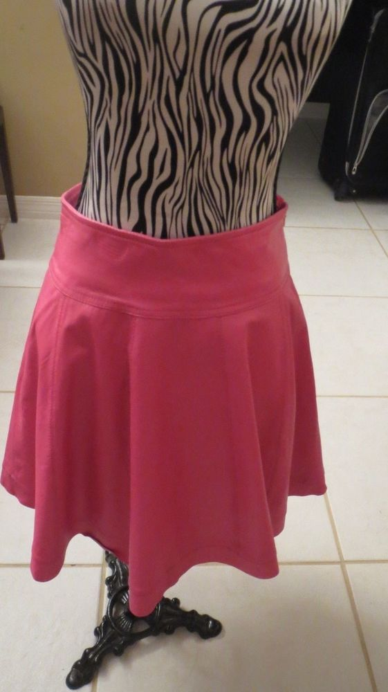 f34a3af027f6f BAGATELLE Pink Leather Skirt XS