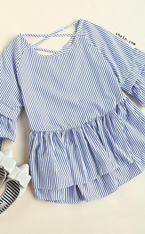 ab7c26a1f8 Blue Striped Criss Cross Back Ruffle Blouse -SheIn(Sheinside)