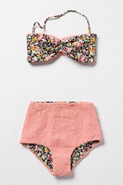 bfef221c7c swimwear, high waisted, bikini, flowers, 60s style, retro, high ...