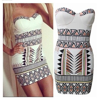 dress print dress aztec aztec dress aztec print dress mini dress white dress bustier dress bodycon dress bandage dress