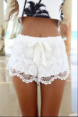 shorts ribbon lace crochet