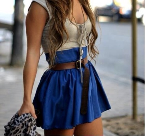 dress multicolor belt blue short skirt top sexy funny summer lace lace up high waisted high waisted sleeveless blouse blue skirt