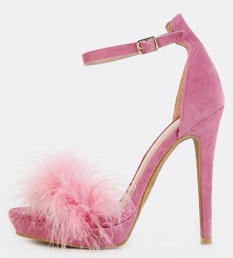 shoes girl girly girly wishlist heels high heels ankle strap heels pink pink heels suede fur furry heels