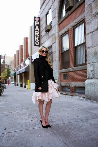 blogger atlantic pacific ruffle pink skirt stilettos pea coat
