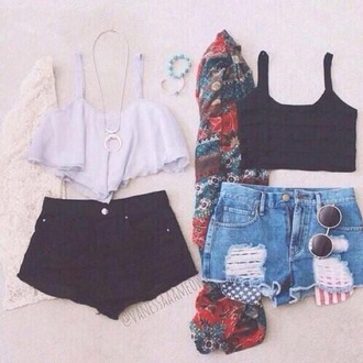 top summer hipster cute crop tops black and white