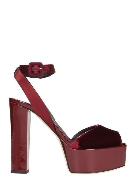 Giuseppe Zanotti sandals platform sandals velvet burgundy shoes