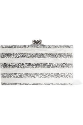 clutch silver white bag