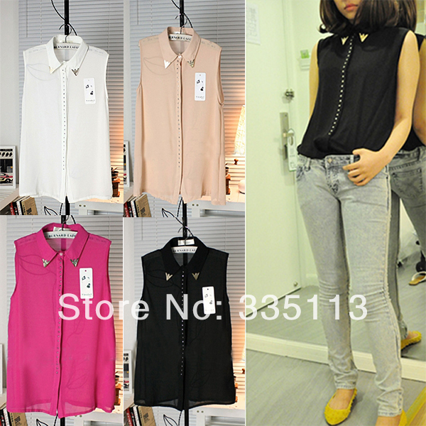 2014 Summer Cool Fashion Women Ladies New Gold Rivet Sequined Solid Color Sleeveless Chiffon Blouse Shirt-in Blouses & Shirts from Apparel & Accessories on Aliexpress.com