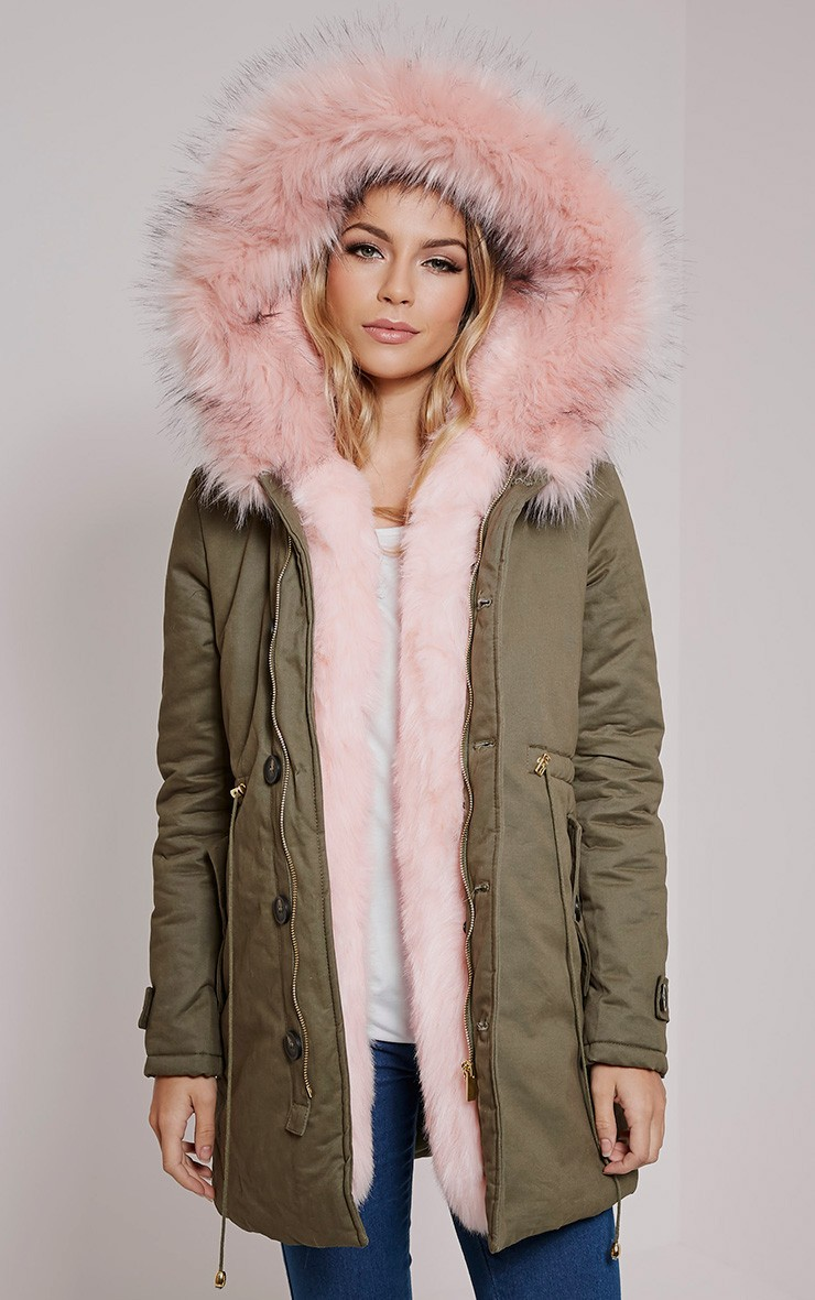 Pink Faux Fur Lined Premium Parka Coat