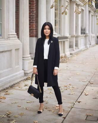 coat tumblr blue coat navy coat top white top denim jeans black jeans shoes bag black bag