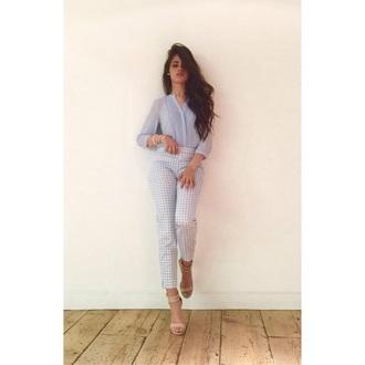 blouse camila cabello blue t-shirt shoes style jeans