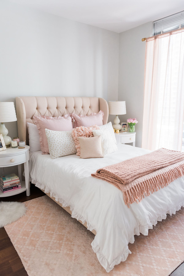 Home accessory bedroom lamp rug tumblr home decor furniture home furniture bedding pink - Spots of color in the bedroom linens and throws ...