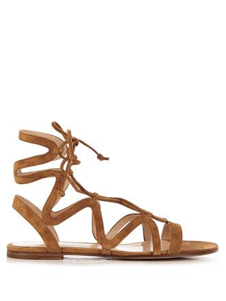 sandals lace suede tan shoes