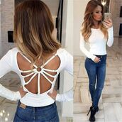 top,white,jeans,jeans top,sexy,backless,backless top,backless tank top,strappy,strappy top,crop tops,long sleeves,bodycon,bodycon top,casual,preppy,white top,white blouse,party,party top,sexy top,open back,open back top,fashion top,fashion toast,fashion coolture,fashion inspo,fashion is a playground,fashion vibe,fashionista,a fashionita,musthave,preppy top,preppy party,date outfit,summmer,holiday season,club top,clubwear,tumblr,tumblr top,pinterest,musthave top,tumblr rtop,cool,cute,cute top,hot,sweet,beautiful,asymmetrical,moraki,blouse,28719,t-shirt,tank top