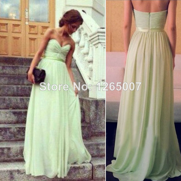 Aliexpress.com : Buy 2014 Sweetheart Mint Green Ruffles Top A Line Long Dress Chiffon Summer Bridesmaid Dresses from Reliable dress bronze suppliers on SFBridal