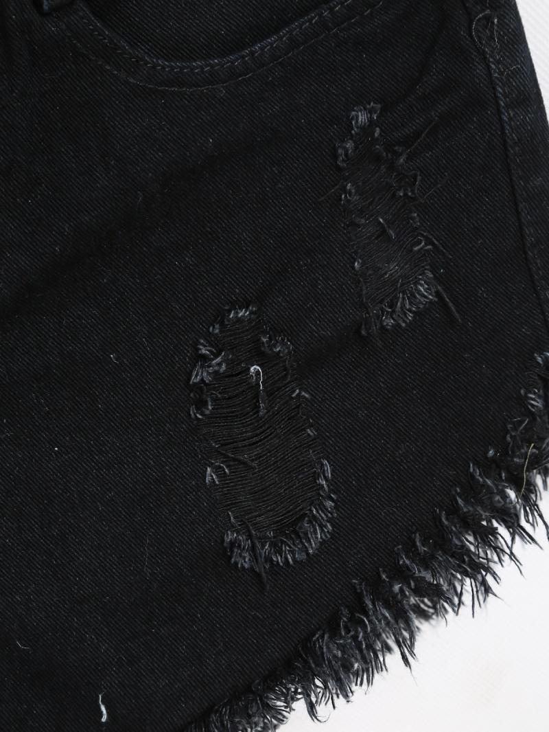 Black Vintage Ripped Fringe Denim Shorts - Sheinside.com