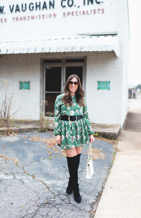 bohostylefile blogger dress belt shoes jewels bag fall outfits green dress belted dress over the knee boots boots white bag