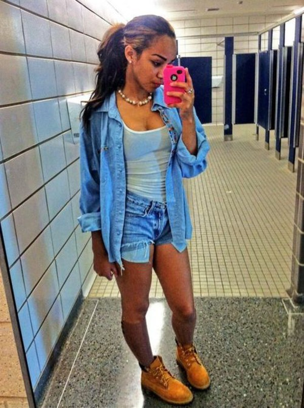 jacket denim denim shirt tank top shorts timberlands