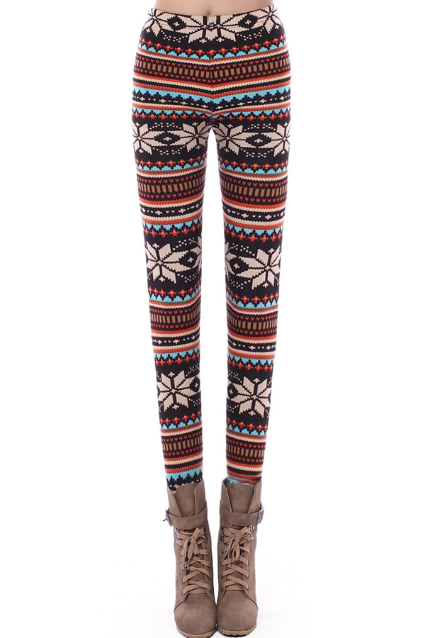 Chic Stripes with Snowflake Leggings - OASAP.com