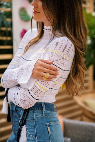 jewels gold ring top tumblr jewelry gold jewelry ring white top lace top